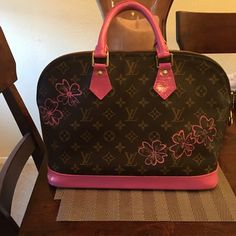 Luis Vuitton Alma purse Handpainted by me. Sold as is. I will include a large bottle of the pink paint that I used for any touch up needed.trade value higher Louis Vuitton Bags