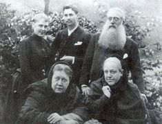 A photograph taken in London in 1888 with Blavatsky (front left) and her sister Vera Petrovna de Zhelihovsky. Standing behind them are Vera (Blavatsky's niece) with her husband Charles Johnston as well as Henry S. Helena Blavatsky, The Secret Doctrine, Theosophical Society, Christian Missionary, Masonic Symbols, British Government, World Religions, Old Women, Occult