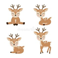 Cute Deer Cartoon In Different Poses. Stock Vector - Illustration of mascot, standing: 142738205 Animal Line Drawings, Cartoon Drawings Of Animals, Cute Cartoon Animals, Kawaii Drawings, Cute Drawings, Cute Animals, Bambi, Deer Vector, Deer Cartoon