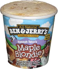 My new favorite Ben and Jerry's: Hannah Teter's Maple Blondie. A dangerously delicious combination of maple ice cream with blond brownie chunks and a maple caramel swirl. Also, the profit goes to her charity, so it's a win-win-win. Maple Walnut Ice Cream, Pistachio Ice Cream, Ice Cream Flavors List, Ice Cream Recipes, Ben Et Jerrys, 6th Birthday Cakes, Gluten Free Deserts, Junk Food Snacks, Weird Food