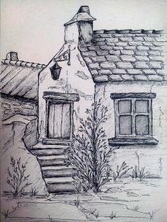 Namenloses Gasthaus - My Gel Pen Drawings - Landscape Pencil Drawings, Pencil Sketch Drawing, Pencil Art Drawings, Art Drawings Sketches, Easy Drawings, Urban Sketching, Pen Art, Drawing Techniques, Painting & Drawing