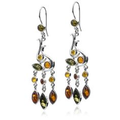 Sterling Silver Multicolor Amber Dangle Earrings -- Click image to review more details.