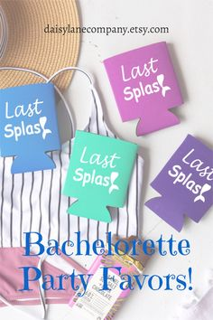 Fun bachelorette party favors for your Last Splash Bachelorette Party. Cute can holders come in a variety of colors that fit in with your mermaid bachelorette party. Add can sleeves to hangover kits or goodie bags for the girls. Cute favor idea when you are on a budget. From a bachelorette pool party to a bachelorette beach weekend, our can coolers will make a big splash!! Visit daisylanecompany.etsy.com to see our selection of bachelorette party favors! Beach Party Favors, Unique Party Favors, Bachelorette Party Planning, Beach Bachelorette, Mermaid Party Favors, Mermaid Parties, Mermaid Bridal Showers, Hangover Kits, Planning Budget