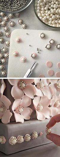How to make edible bling for decorating cakes, cookies, cupcakes, etc. Sara owsley fondant decor P Cake Decorating Techniques, Cake Decorating Tutorials, Cookie Decorating, Decorating Cakes, Decorating Ideas, Cake Icing, Cupcake Cakes, Mini Cakes, Cake Fondant