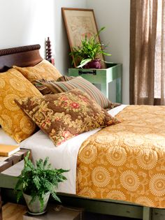 Beautiful yellow bedding brightens up this country bedroom space.
