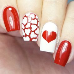 Happy Valentines Day Nails to Win His Heart: Many Lovely Hearts for Happy Valentines Day Nails  #valentinesday; #nails; #nailart; #naildesign