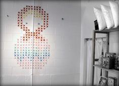 Washi stitch matryoshka. Cross stitch + washi tape wall art! Free pattern included