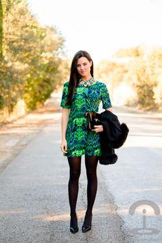 Vestido verde y azul | Crímenes de la Moda en stylelovely.com