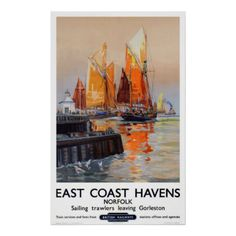 #East coast port sailing boats Great Britain Poster - #travel #art