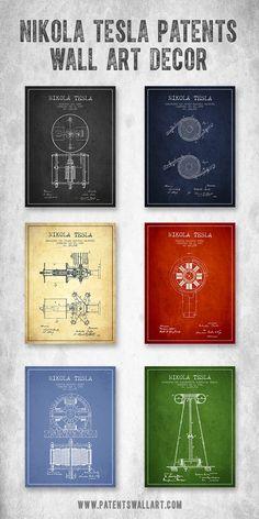 Collection of vintage Nikola Tesla patent wall art decor, gift ideas. #interiordesign #walldecor #tesla
