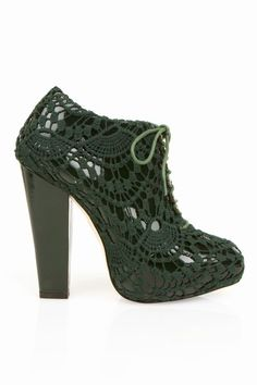 Rodarte for Opening Ceremony  Lace-Up Crochet Bootie, in hunter green