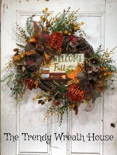 Harvest Wreaths, Autumn Wreath For Door, Welcome Fall Wreath, Pumpkin  Harvest Wreath,