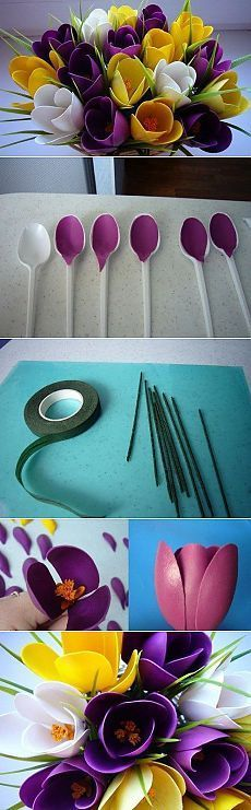 Peacock made from plastic garbage bottlesDIY Home Decoration: How to Make a Peacock out of Plastic Spoons Creative Crafts, Fun Crafts, Diy And Crafts, Crafts For Kids, Arts And Crafts, Creative Art, Flower Crafts, Diy Flowers, Fabric Flowers