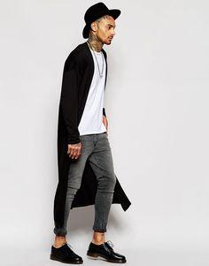 Image 4 ofASOS Extreme Longline Lightweight Jersey Cardigan In Black