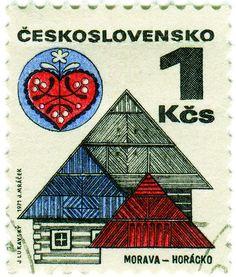 Czechoslovakia postage stamp: roofs and folk art      c. 1971, part of set featuring Czechoslovakian folk architecture    designed by Jaroslav Lukavsky, engraving by J. Mráček