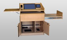 ELCO-35DC Lectern in Maple Melamine - Open View. This lectern has a new recessed VESA Mount monitor option. The standard ELCO-35DC comes with a large document camera drawer, locking doors, pullout keyboard shelf, drop leaf, locking rear access panel, and fixed rack front and rear. #QuickShip #Lectern #Infocomm2012