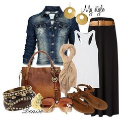 Black maxi skirt with jean jacket, cognac accessories