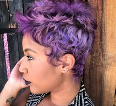 o(༚♡з♡༚)o ~purple hair~ is adorable! Short Sassy Hair, Short Hair Cuts, Short Hair Styles, Natural Hair Styles, Short Pixie, Curly Pixie, Pixie Cuts, Dope Hairstyles, Cute Hairstyles For Short Hair