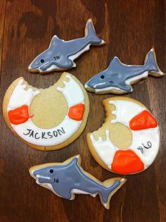 Shark party cookies  by kellidmarks, via Flickr