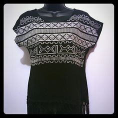 *Alya* Black top with design and fringe Fabric is 100% rayon Fringe is 100% polyester. Design is stitched on. alya Tops Blouses