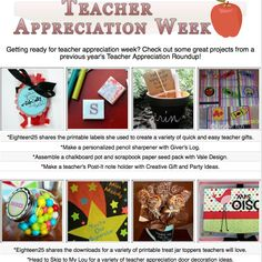 14 diy teacher appreciation project tutorials- many complete with printables!