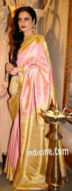 REkha in Pink Kajevaram Saree