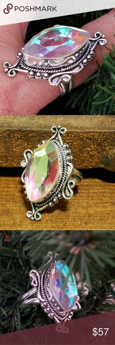 """RAINBOW MYSTIC TOPAZ RING Beautiful 1"""" Rainbow Mystic Topaz Ring, Solid Sterling Silver Vintage Style """"925 Stamped"""" (Size 9) Jewelry Rings"""