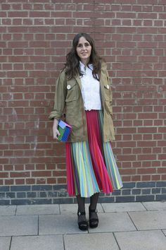 Pin for Later: 19 Chic Ways to Wear a Pleated Midi Skirt Offset Stripes With a Utility Jacket