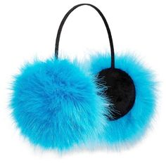 Betsey Johnson xox Trolls Faux-Fur Ear Muffs, Blue ($9.99) ❤ liked on Polyvore featuring accessories, faux fur earmuffs and betsey johnson