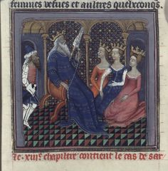 Sardanapalus spinning, De casibus (BNF Fr. 226, fol. 46), first quarter of the 15th century