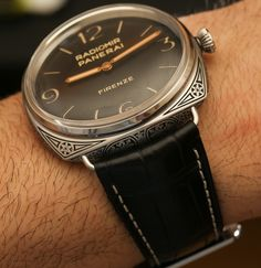 """Panerai Radiomir Firenze 3 Days Acciaio PAM604 Limited Edition Engraved Watch Hands-On - by Ariel Adams - see it hands-on, read more on aBlogtoWatch.com """"For 2015, Panerai has a few interesting new watches, but my favorite is the Panerai Radiomir Firenze 3 Days Acciaio 47mm aka PAM00604 (PAM604). This is really a watch for collectors, and Panerai has made especially sure that the PAM604 very much fits into Panerai lore, being available for sale exclusively in the brand's flagship boutique…"""