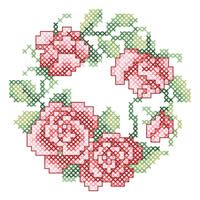 Rose Wreath - looks like it might fit into the back of a handbag mirror or coaster etc., and it would look really pretty in either, I think.  Chart free from Janlynn.
