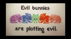 Evil Bunnies Are Plotting Evil Cross Stitch Pattern PDF, Instant Download. $4.00, via Etsy....Anya, Buffy the Vampire Slayer