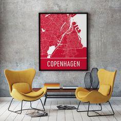 Copenhagen Denmark Map, Art, Print, Poster, Wall Art .