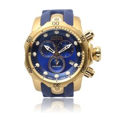 @Overstock - Invicta Men's IN-6113 'Venom' Silicone Band Chronograph Watch - This 'Venom' Swiss made watch by Invicta features a round 18K gold-plated stainless steel case and uni-directional tachymeter.  A vibrant blue dial features functioning subdials and a high-grade blue silicone strap secures with a tang buckle.  http://www.overstock.com/Jewelry-Watches/Invicta-Mens-IN-6113-Venom-Silicone-Band-Chronograph-Watch/9489037/product.html?CID=214117 IDR              5734933.48