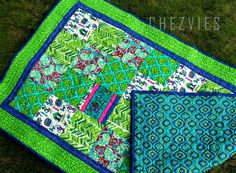 Handmade Quilted  table runner in green and blue country style home decor Indian cotton table topper - pinned by pin4etsy.com