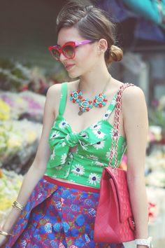 Emilee Anne wearing ASOS Crop Top // Marc Jacobs Floral Skirt // Chanel Purse // Esska Oxford Heels // Dior Red Cat Eye Sunglasses