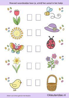 Het is lente, hoeveel woordstukjes hoor je, kleuteridee.nl ,taal voor kleuters, free printable.