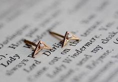 14k Chevron Diamond Earrings, Chevron Studs, Diamond Studs, Geometric Earrings, Real Gold, Solid Gold Earrings, Black Diamond by LieselLove on Etsy https://www.etsy.com/listing/289549693/14k-chevron-diamond-earrings-chevron