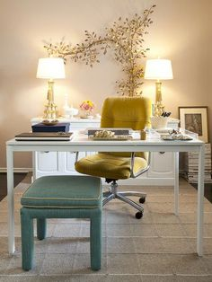 Office & Workspace:Lovely Home Office Ideas Feat Office Desks And Yellow And Blue Sea Chairs Plus Twin Double Table Lamp Also Plants And Flowers And Cream Wall As Well As Gray Carpet Ideas The Appealing Home Office Ideas for Your Office Decor, Office Decor Professional, Interior, Feminine Home Offices, Home, Sunroom Office, Interior Design, Minimalist Home, Office Design