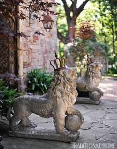 A designer brings his sense of style to the garden with lion sculptures