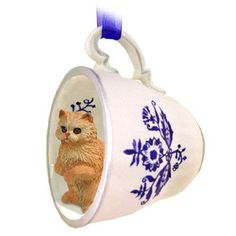 Persian Red Cat Tea Cup Blue