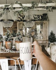 Our home decor says Christmas, but my coffee mug is all Thanksgiving! ☕️🦃🍽🍁Happy Thanksgiving friends! Along with many other things I'm thankful for, I'm thankful for you. Thank you for always cheering me on, encouraging me, sharing in my love for DIY & home decor, following along on our farmhouse & fertility journey, for supporting our store @thefoundcottage, & so much more. I hope all of you who celebrate thanksgiving today enjoy this day with your family and friends. Cheers to wearing…