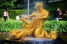 Famous fountains of Petergof, Saint Petersburg, Russia Stock Photo