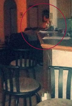 This photograph was shared by one of our readers, here's what she has to say about her picture: The picture of the kitchen bar looking into the living room is of a lady leaning on the bar in the middle upper in the picture, its hard to see it at first but its a woman's face and you can clearly see how her face features blends in with the background of the picture. Her eyes are closed. She has a big nose and head tilt down just a little and you can see her lips and her black hair. She looks…