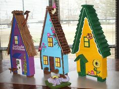3 Similar, yet different Fairy Houses by Rambrosius Gifts. These will eventually have a cement base to allow them to go in the flower garden without falling over.