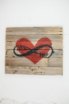 Reclaimed Barn Wood You & Me Infinity Love Sign