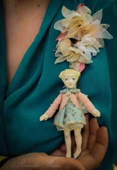 Mini. Handmade doll. Brosche or necklace !