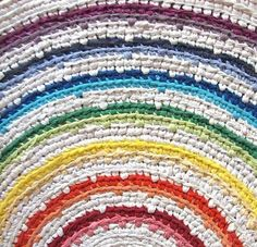 Rainbow Crocheted Rug by elevensides on etsy