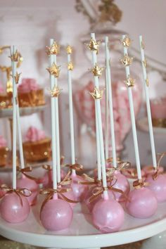Gold and Pink Princess Themed Birthday Party: Event Styling: Couture Event StylingCake, Cupcakes, Macarons, Cakepops, Cookies : Studio CakeBackdrop: Printcraft Wall DecalsStationary: Ham Pea design paperie Royal Princess Birthday, Princess Theme Party, Pink Birthday, Pink Princess, 1st Birthday Girls, First Birthday Parties, Birthday Party Themes, Birthday Crowns, Themed Parties